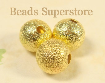 10 mm Gold-Plated Brass Stardust Round Bead - Nickel Free and Lead Free - 12 pcs
