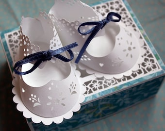 Baby Booful Bootees SVG template to make 3D paper bootees