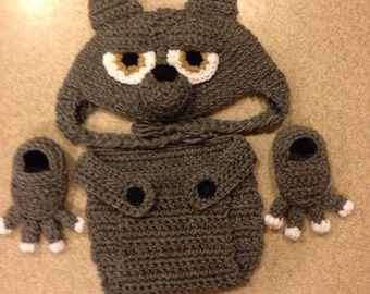 Crochet Little Wolf Hat With Diaper Cover and Booties 0-9 months