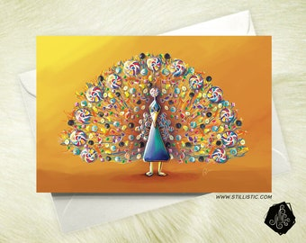 Friendship birthday Peacock candy mother's Day greeting card