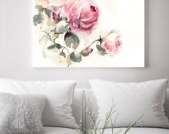 Pink roses fine art print, flowers watercolor painting art, floral botanical modern wall art print