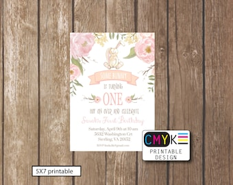 Some Bunny Turns One,  First Birthday Printable Invitation, Bunny Birthday Invitation, Flower Bunny Invite, Light Pink Invite