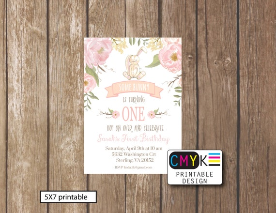 Some bunny turns one first birthday printable invitation some bunny turns one first birthday printable invitation bunny birthday invitation flower bunny invite light pink invite filmwisefo Gallery