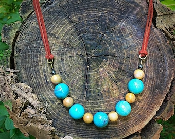 Turquoise and Picasso Jasper Statement Necklace / festival jewelry / statement necklace / large beaded necklace / suede / bold necklace