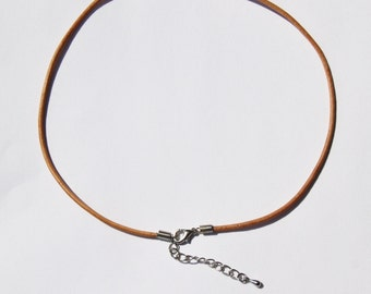 """2 mm Natural ( Tan ) Genuine Leather Cord Necklace Choker with Coil Clasp ( 14"""", 16"""" , 18"""", 20 or  24"""")  R25NU"""