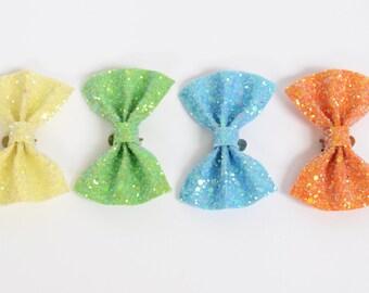 Pastel Lemon, Pastel Apple Green, Pastel Summer Sky and Pastel Tangerine Glitter Bow Shoe Clips (set of two), handmade in the UK