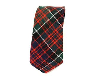 Vintage Men's Necktie - Lochcarron Scottish Plaid Wool Necktie -  Blue Green Red and White