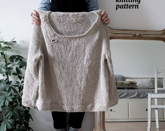 Summer Fields Sweater Pattern, Minimal Knitting, Top Down Sweater