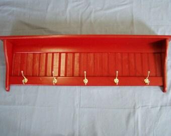 Pine Wood Coat Rack Wall Shelf 42 Inch Red with Hooks