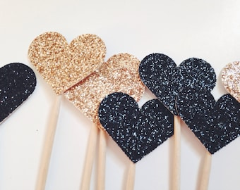 Heart Cupcake Toppers - Wedding Cupcake Toppers - Glitter Heart Cake Topper - Bachelorette Party Decor - Bridal Shower Decor -Black and Gold