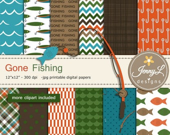 Fishing Digital Papers and Clipart SET, fishing lure, rod, Father's Day Gone Fishing for Digital Scrapbooking, invitations,  Planner
