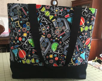 Science tote: large tote; science bag