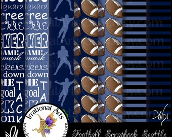 INSTANT DOWNLOAD Football Digital Scrapbooking Papers Seattle with 7 jpg files 300dpi