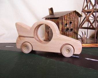Toy Bat Car Handmade from Reclaimed Wood for the Children, Kids