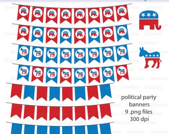 Political Parties Banners Digital Clipart - Instant download PNG files