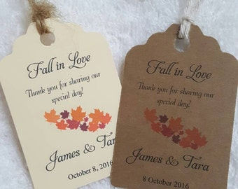 """Personalized Favor Tags 2.5""""Lx1.8""""w'', Wedding tags, Thank You tags, Favor tags, Gift tags, Bridal Shower Favor Tags, fall wedding favor tag"""