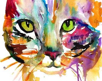 """Tabby Cat Watercolor Painting Print, 11 x 14 poster, """"Tabby Cat"""" by Jess Buhman, Watercolor Cat, Watercolor Nursery, Cat Watercolor, cat art"""
