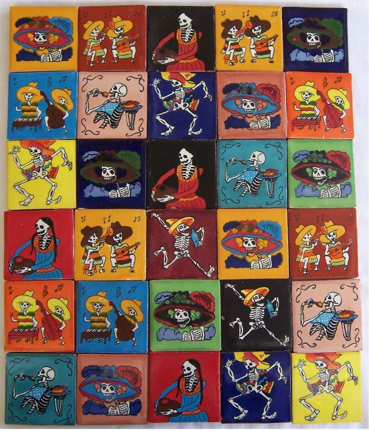 30 hand painted day of the dead mexican talavera tiles zoom dailygadgetfo Images