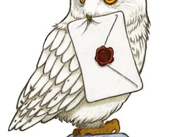 Hedwig Art Print, Harry Potter Art, Harry Potter Print, Harry Potter Nursery, Harry Potter Gift.
