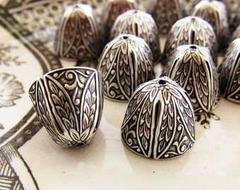 Ornate Large Antiqued Silver OX Art Nouveau Victorian Bead Caps Cone Floral Leaf Embossed Kumihimo Tassel Ends - 4