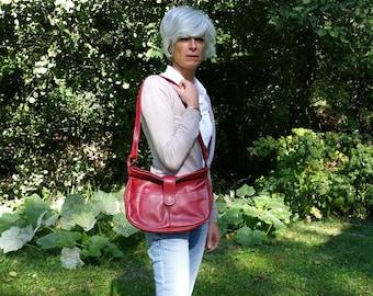French Vintage red leather shoulder Bag handbag hippie hobo messenger