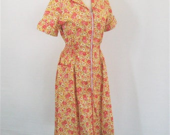50s 60s Dress Vintage Deadstock Cotton House Dress, Princess Peggy Kitchen Formal Orange Floral, Zip Front, New Old Stock, Rockabily Bust 36