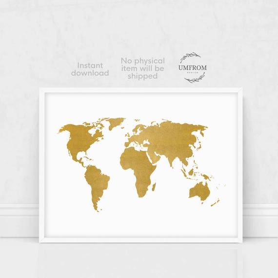 Gold world map print gold map print white and gold world gold world map print gold map print white and gold world map world map wall art large world map world map poster world map art gumiabroncs Gallery