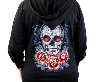 Medium Light Weight Black Zipper Hoodie Sweatshirt Sugar Skull and Roses