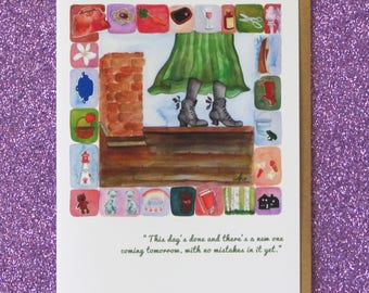 ANNE of GREEN GABLES greeting card blank inside carrots raspberry cordial slate lady of shalot cow lighthouse canada l.m. montgomery art