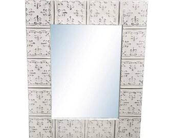 Mini Fleur de Lis 22 in. x 34 in. Tin Mirror