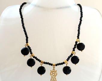 Gold Cat Necklace,Black Crystal Necklace,Cat Necklace, Boho Necklace,Gold Plated Cat Necklace, Black Necklace, Gold Necklace,gift for her
