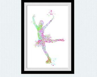 Girl on skates poster Figure skating art print Sport illustration Girls room decor Home decoration Kids room wall art Sport art poster W846