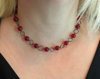 Choker - Red Glass and Bronze