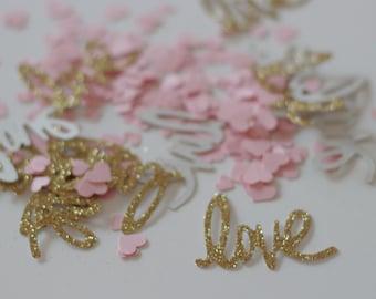 Love and Heart Confetti, Pink and Gold Confetti, Love Confetti, I Love You Confetti, Valentine Day Confetti, Wedding Confetti,  Baby Shower