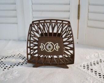 Vintage Plastic Napkin Holder Brown Geometrical Design Retro Kitsch Kitchen Decor PanchosPorch