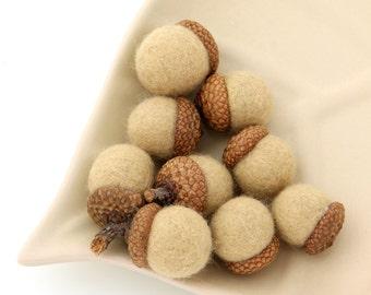 AU NATUREL Wool Needle Felted Assorted Waldorf Inspired ACORNS Set of 9