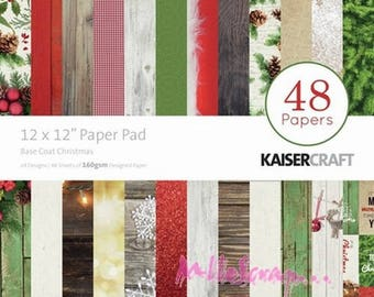 "Set of 48 leaves theme ""Base Coat Christmas"" KaiserCraft's 30 X 30 cm scrapbooking (ref.210). *."