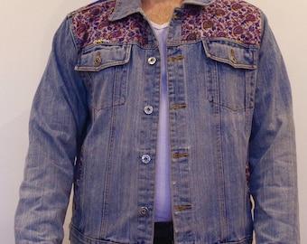 mens denim vintage jacket up cycled bohemian design