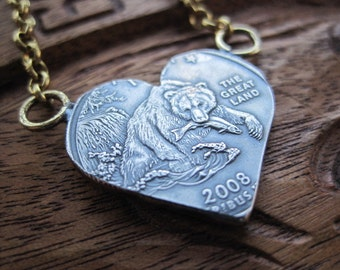 Alaska State Quarter Heart Necklace with Brass Bolo Chain MADE TO ORDER.
