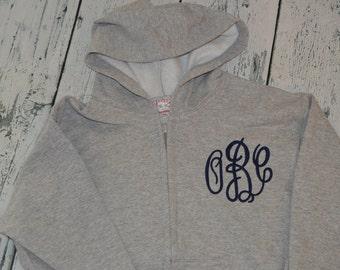 YOUTH  Full Zip Hooded Sweatshirt Personalized Monogrammed Jacket
