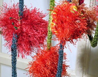 Decoration. Flower garland knitted and croched. Unique long decoration with buttons and stamens on each flower. Bright and fun home decor.