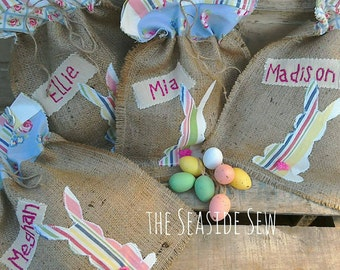 Rustik easter gifts etsy large personalised easter treat bag hessian burlap rustic easter basket gift bag easter favours negle Image collections