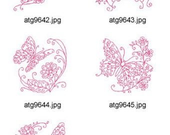 Redwork-Curly-Butterflies-1  ( 5 Machine Embroidery Designs from ATW ) ZYX17E
