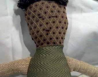 Boy Cloth Doll with Brown Hair