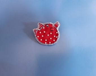 Embroidered brooch, hand painted
