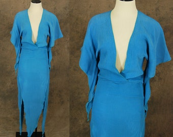vintage 70s Avant Garde Dress - Angel Sleeve Maxi Dress - Blue Layered Tails Pixie Dress Sz XS S
