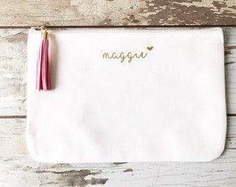 Bridesmaid Cosmetic Bag, Mrs Makeup Bag, Natural Canvas Cosmetic Storage, Monogram Makeup Bag, Makeup Traveling Pouch, Gift for Brides, Brid