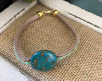 Leather & hemp turquoise bracelet.