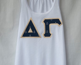 White Bella Tank With Anchors On Metallic Gold (263C)