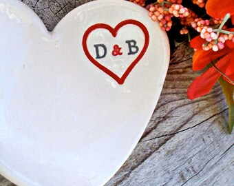 Ring Holder Dish - Heart Shaped and Personalized with Initials -Ceramic Wedding Ring Bowl